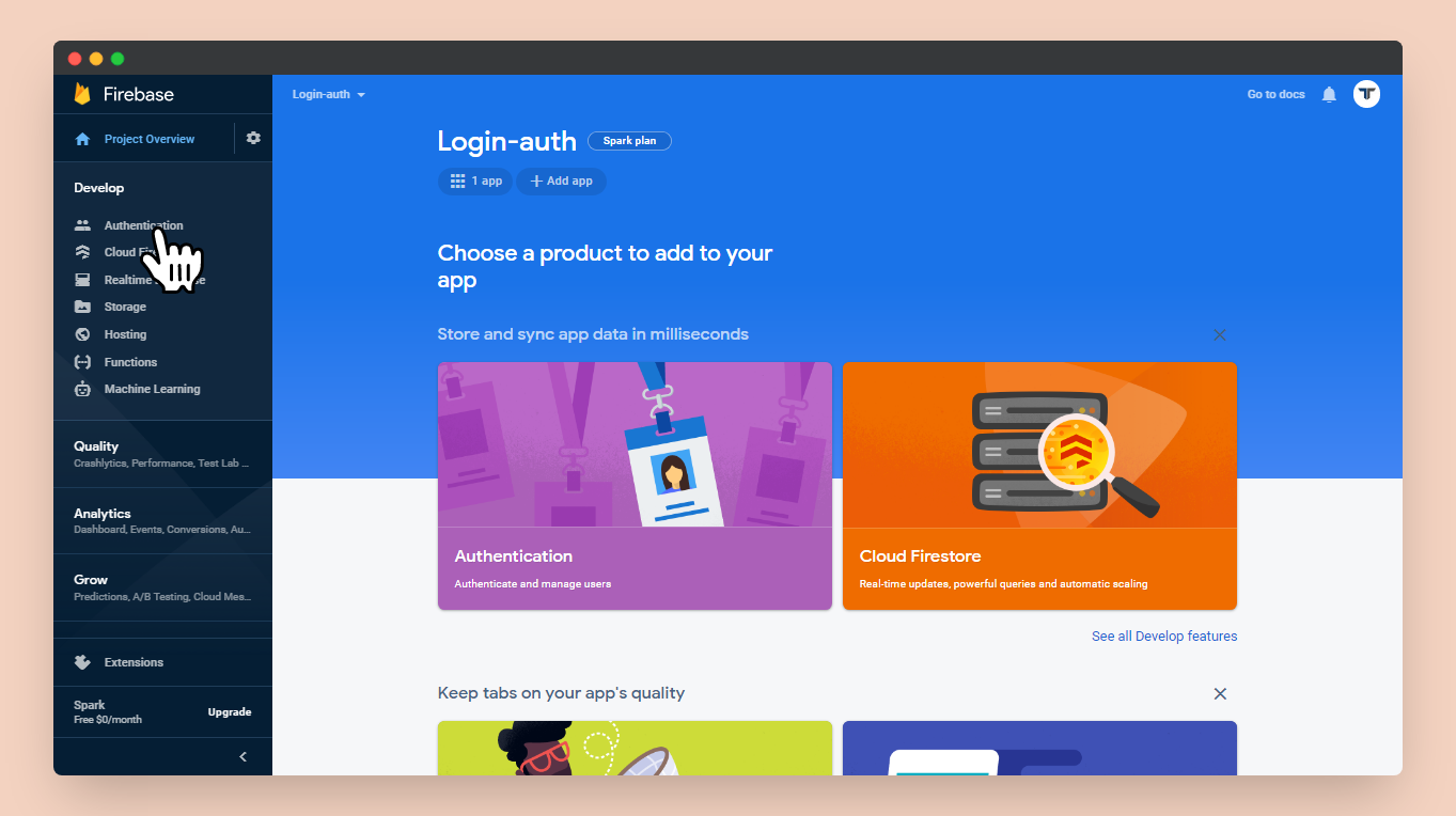 Authentication page